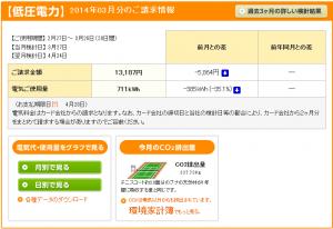 全館空調2014年3月分請求金額